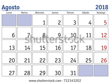calendar 2018 august month year 2018 stock vector royalty free
