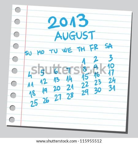 Calendar 2013 august (sketch style) - stock vector