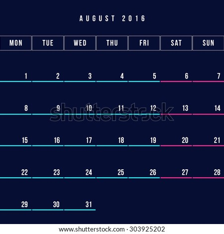 Calendar August 2016 vector design template - Minimalism Style
