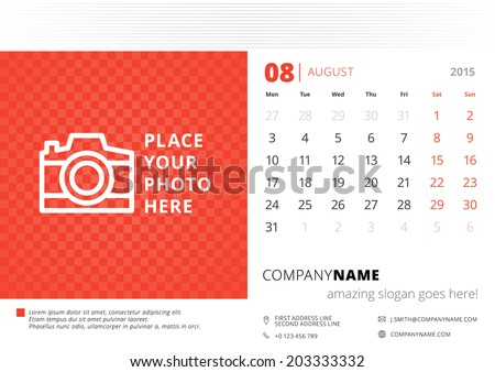 Calendar 2015 August vector design template with place for photo - stock vector