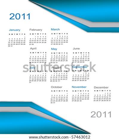 Calendar 2011, business style. - stock vector