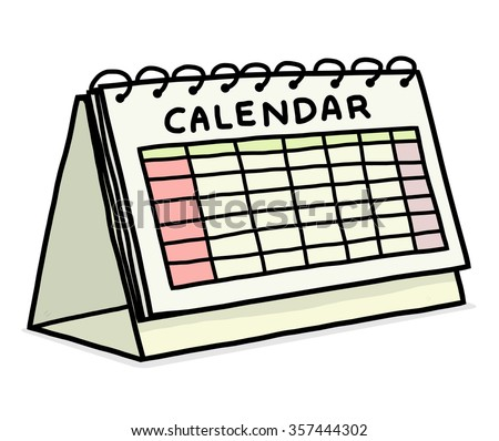 calendar / cartoon vector and illustration, hand drawn style, isolated on white background. - stock vector