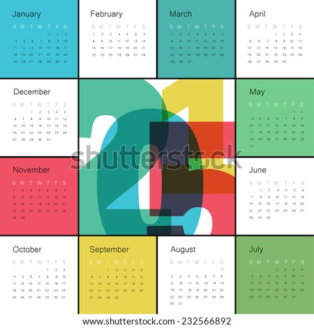 Calendar 2015 Colorful. Square composition - stock vector