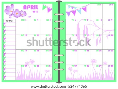 Calendar Daily Planner Template For Monthly April 2017. Note Paper Format  A 5 With  Daily Planner Template