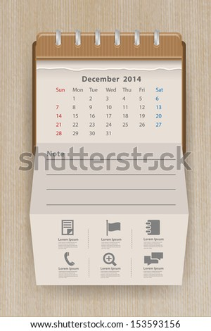 Calendar december 2014, Creative folded paper with business icon on wood texture background, workflow layout, diagram, step up options, web banner template, Vector illustration modern template design - stock vector