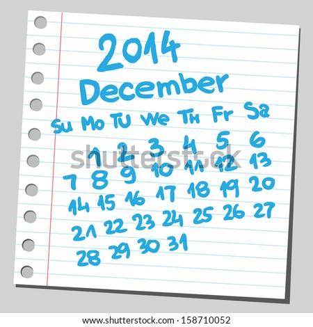 Calendar 2014 december (sketch style)  - stock vector