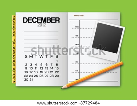 Calendar 2012 December stationery vector - stock vector