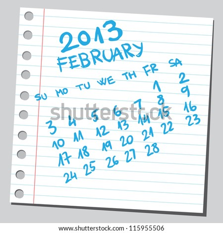 Calendar 2013 february (sketch style) - stock vector