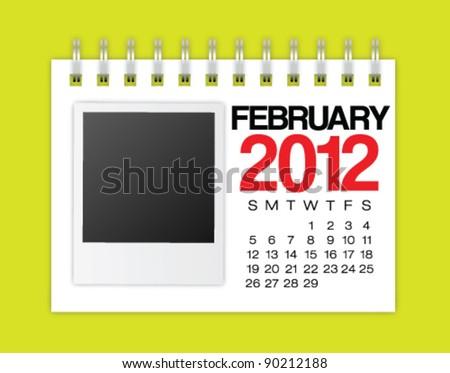 Calendar 2012 February Vector - stock vector