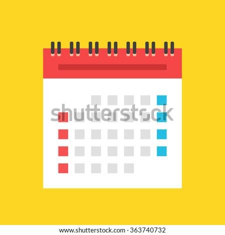 Calendar flat icon. US version. Vector illustration - stock vector