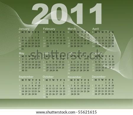 calendar for 2011 - stock vector
