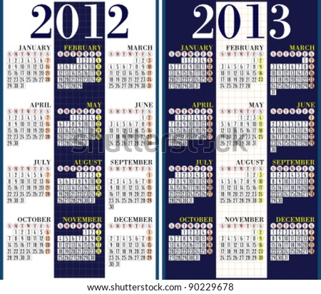 Calendar for 2012 and 2013. Vertical. Easy to edit. Week starts on Sunday.