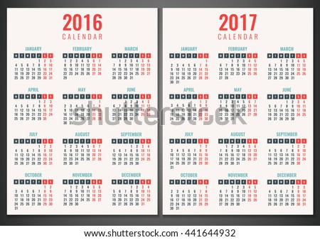Calendar for 2016 and 2017. Week Starts Monday. Simple Vector Template - stock vector