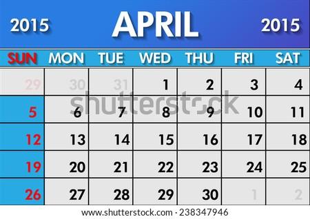 Calendar for April 2015  - stock vector