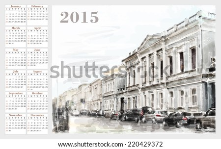 calendar for 2015. Cityscape. Vintage style. - stock vector