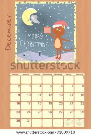 calendar for december 2012 - stock vector
