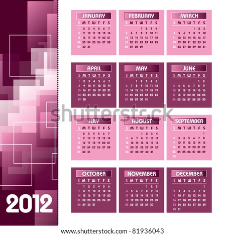 Calendar for 2012. Eps10 Format. - stock vector