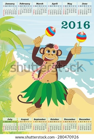 Calendar for 2016. Exotic cute dancing monkey on beach