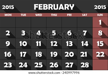 Calendar for February 2015, flat, with long shadow. Sunday fields in Marsala color. - stock vector