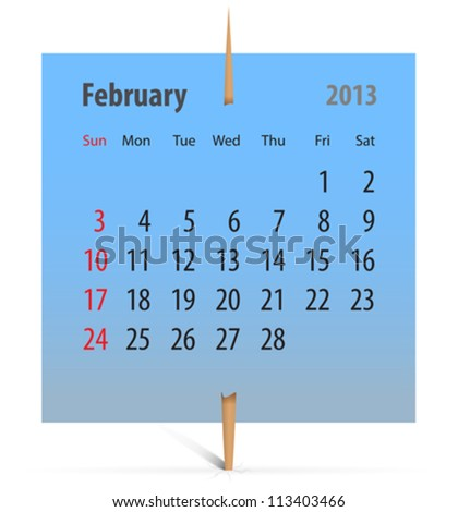 Calendar for February 2013 on a blue sticker attached with toothpick. Vector illustration - stock vector
