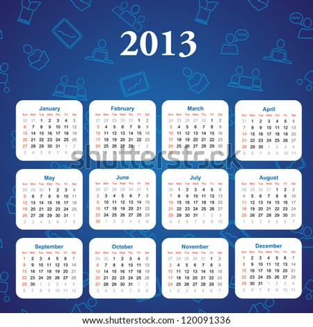 Calendar for 2013 for your company - stock vector