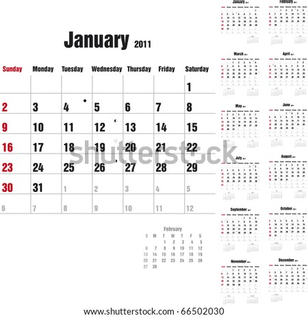 Calendar for 2011 in English - stock vector