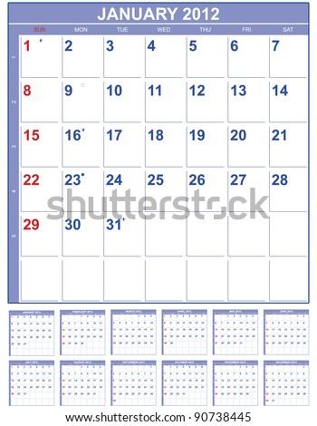 Calendar for 2012 in English - stock vector