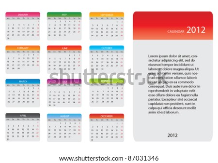 Calendar for 2012 in square design with tabs isolated on white. Vector. - stock vector