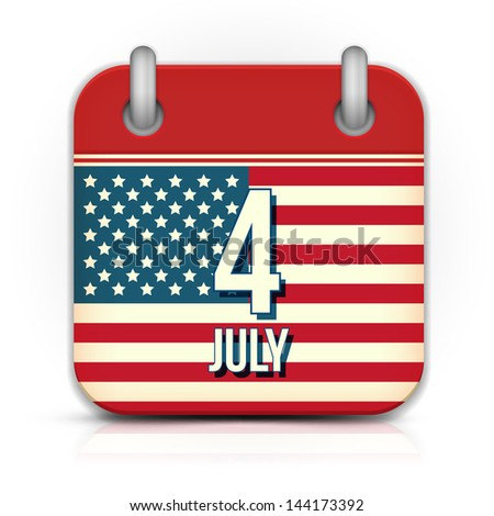 Calendar for Independence Day - stock vector