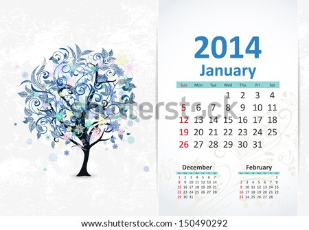 Calendar for 2014, january - stock vector