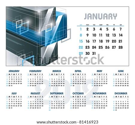 Calendar for 2012. January. Vector Eps10. - stock vector
