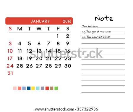 Calendar for January 2016. Week Starts Sunday. Clean and Simple Vector Template with color palette