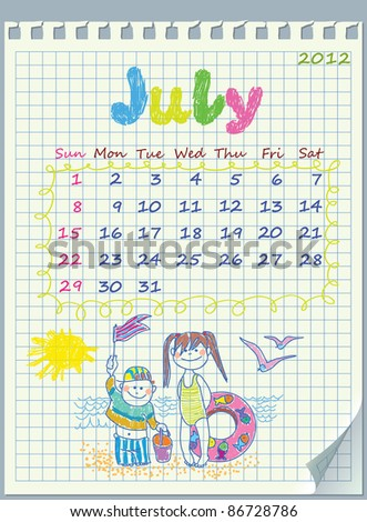 Calendar for July 2012. The week starts with Sunday. Illustration of the summer. Children on the beach. The numbers drawn on detached exercise book in a cage. - stock vector