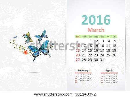 Calendar for 2016, march - stock vector