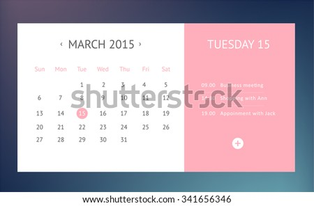 Calendar for March 2016 isolated on Background. Simple Vector Template - stock vector