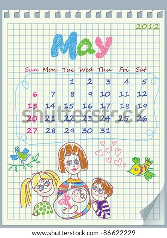 Calendar for May 2012. The week starts with Sunday. Illustration of spring. The numbers drawn on detached exercise book in a cage. - stock vector