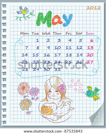 Calendar for May 2012. Week starts on Monday. Leaf torn from a notebook into a cell. Exercise book in a cage. Illustration of Mother's Day - stock vector