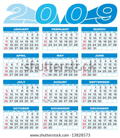 Calendar for 2009. Numbers within a grid. - stock vector