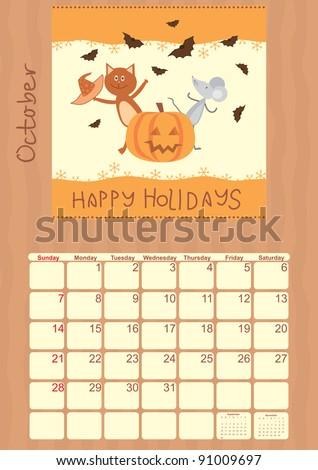 calendar for October 2012 - stock vector