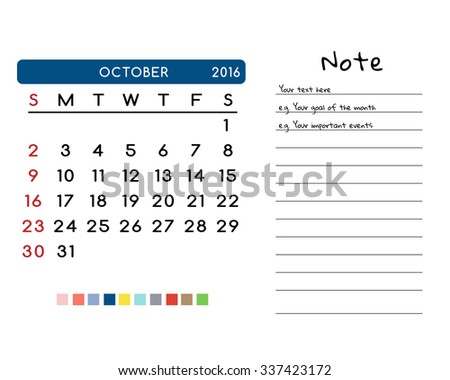 Calendar for October 2016. Week Starts Sunday. Clean and Simple Vector Template with pan tone color palette
