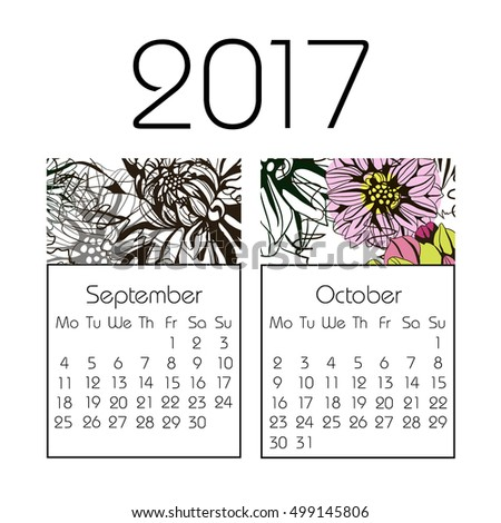 Calendar for 2017 on white background. Vector. autumn, September, October