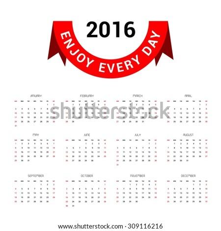 Calendar for 2016 on white background. Vector EPS10. - stock vector
