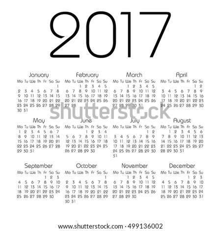 Calendar 2017 On White Background Vector Stock Vector 499199905 ...