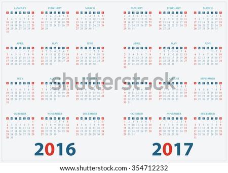 Calendar for 2016, 2017 on White Background, week start on sunday, vector illustration. - stock vector