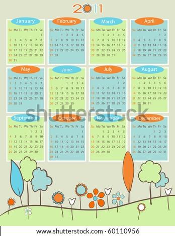 Calendar for 2011 - Retro nature - stock vector