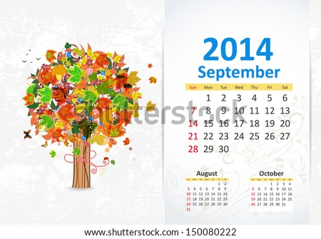 Calendar for 2014, September - stock vector