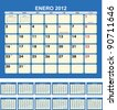 Calendar for 2012  (spanish language) - stock photo