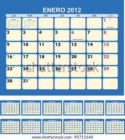 Calendar for 2012  (spanish language) - stock vector
