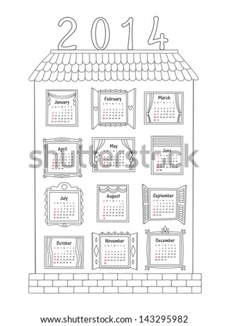 Calendar for the year 2014, drawn by the contours of a large house with 12 different Windows for each month. Vector illustration. - stock vector