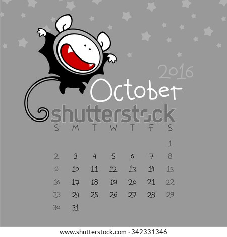 Calendar for the year 2016 - October - stock vector